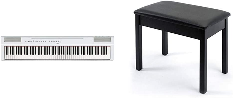 Yamaha P125 88-Key Weighted Action Digital Piano with Power Supply and Sustain Pedal, White with BB1 Padded Wooden Piano Bench, Black
