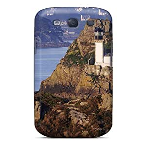Protection Case For Galaxy S3 / Case Cover For Galaxy(lighthouse Tucked In A Rocky Isl)