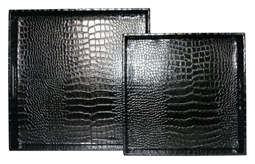 WOOSAL Home Kitchen Decorative Tray Set of 2, Square Alligator Faux Leather Serving Tray with Handles for Bed Ottomans Sofa Coach(Black)