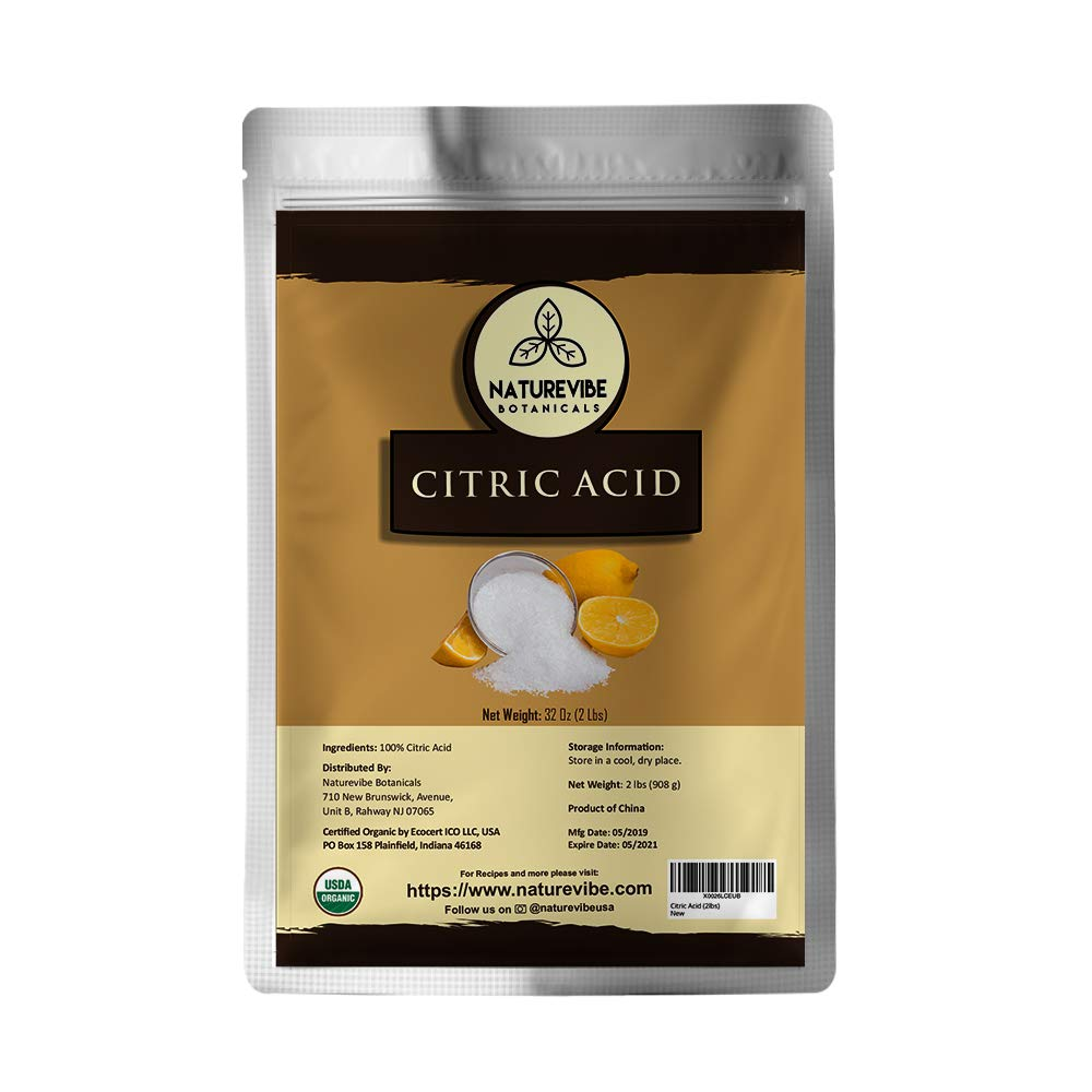 Naturevibe Botanicals Citric Acid, 2 Pound | Non-GMO and Gluten Free | 100% Natural | Food Grade | Flavoring agent | Natural Enhancer (32 Ounces)