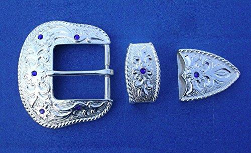 Western Cowboy / Cowgirl Bling Brightシルバーメッキ1 1 / 2インチクリスタルバックルセット