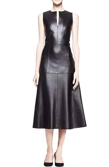 Angel&Lily A-line skirt Slim below knee Faux Leather dress  plus1x-10x(SZ16-52)