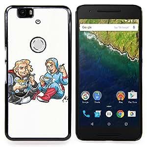 "Qstar Arte & diseño plástico duro Fundas Cover Cubre Hard Case Cover para Huawei Google Nexus 6P (Dibujo Art Kids Food Street Style Blonde"")"