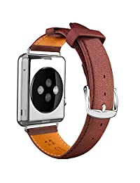 Apple Watch Band, LoHi 38mm iWatch [100% Genuine Leather] Replacement Watch Strap Wrist Band with Metal Clasp for Apple Watch & Sport & Edition (38mm-Brown)