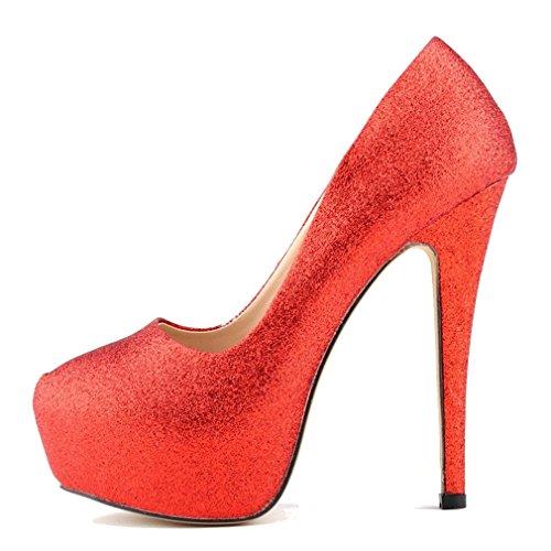 Zapatos de Lentejuelas Aguja Mujeres de Altos Rojo Tacones Bling Xianshu Plataforma Tacón xq4OYSaY