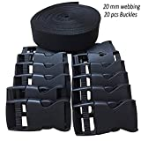RETON 20mm Wide 10 Yards Black Nylon Webbing Strap + 20 PCS Adjustable Buckles Plastic Side Release Buckles