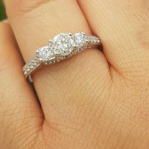Dazzlingrock Collection 1.00 Carat (ctw) 14K Round White Diamond 3 Stone Bridal Engagement Ring 1 CT, White Gold, Size 8 by Dazzlingrock Collection (Image #8)