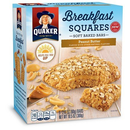 Quaker Breakfast Squares Peanut Butter 10.5oz