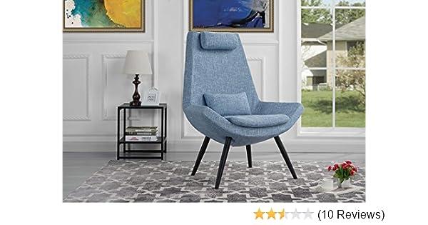 Modern Contemporary Linen Fabric Living Room Accent Chair (Light Blue)