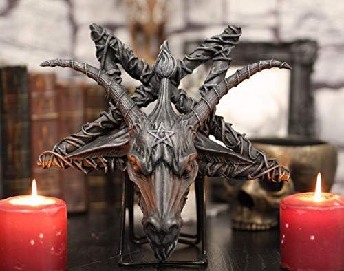Ebros Sabbatic Goat of Mendes Samael Lilith Baphomet Head On Inverted Pentagram Star Hanging Wall Decor Plaque 10.5″ Wide Satanic Devil Worship Lucifer Symbol Altar Accent
