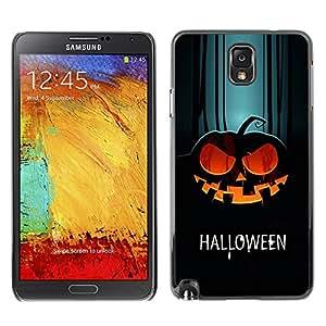 Samsung Note 3 N9000 - Metal de aluminio y de plástico duro Caja del teléfono - Negro - Halloween Evil Pumpkin