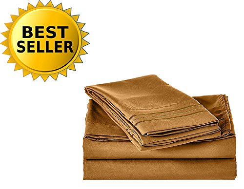 (Celine Linen 1800 Series Egyptian Quality Super Soft Wrinkle Resistant & Fade Resistant Beautiful Design on Pillowcases 5-Piece Sheet Set, Deep Pocket Up to 16inch, Split King Bronze)