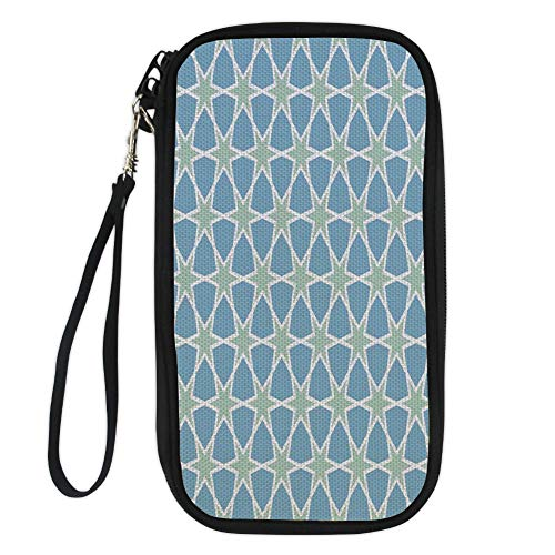 iPrint Moroccan,Mosaic Pattern Repeating Glazed Zellige Art Figures Stars Roman Inspirations,Green Blue White for Women Canvas Document Organizer Clutch