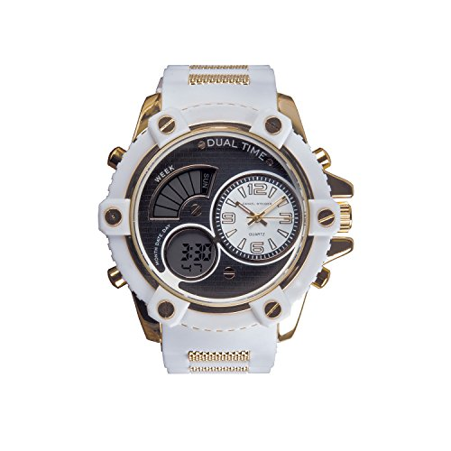 olt Sharp White Hybrid Men's Watch - Analogue & Digital Dials - Durable Silicone Strap - Water Resistant ()