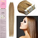 haibis 20'' Tape in Remy Human Hair Extensions 20pcs 50g Straight Skin Weft Human Hair(#16 Ash Blonde)