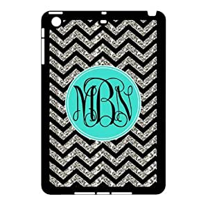 Monogram Personalized Black Grey Turquoise Chevron Pattern (NOT ACTUAL GLITTER) APPLE IPAD MINI Rubber+Plastic Case/Cover New Fashion, Best Gift by ruishername