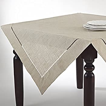 Natural Beige, Classic Tuscany Hemtitch Design 80 Inch Square Tablecloth