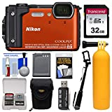 Cheap Nikon Coolpix W300 4K Wi-Fi Shock & Waterproof Digital Camera (Orange) with 32GB Card + Case + Battery + Monopod + Floating Handle + Kit
