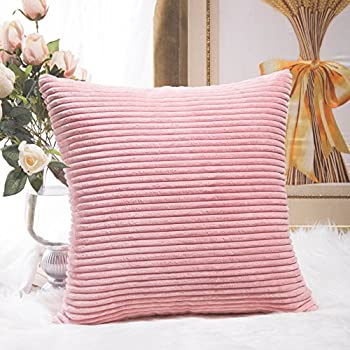 Home Brilliant Decor Supersoft Striped Velvet Corduroy Decorative Throw Toss Pillowcase Cushion Cover for Baby, Baby Pink, (45x45 cm, 18inch)