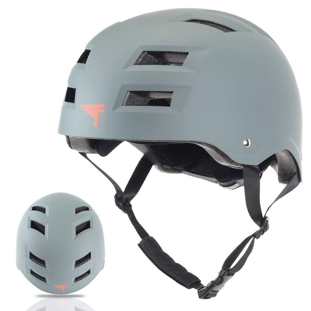 Flybar Dual Certified CPSC Multi Sport Kids & Adult Bike And Skateboard Adjustable Dial Helmet,Grey,S/M