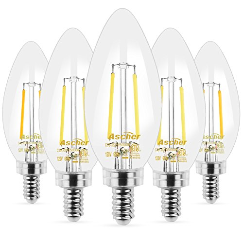 Ascher E12 LED Classic Candelabra Clear Light Bulbs, Equivalent 40W, Daylight White 5000K, Filament Clear Glass, Non-Dimmable, Pack of 5