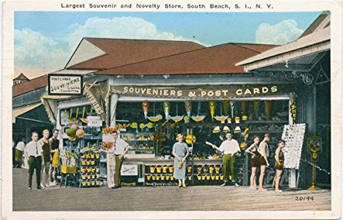 Vintage Postcard Print | Largest Souvenir and Novelty Store, South Beach, Staten Island, N.Y. [concession stand of Souveniers and Post Cards, people posed out - Stores Staten Island