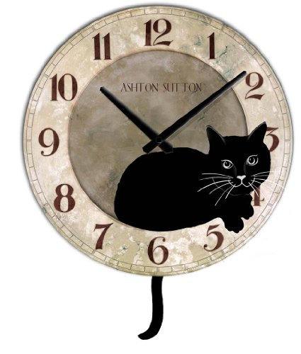 Lovely ... Ashton Sutton Cat Clock With Pendulum