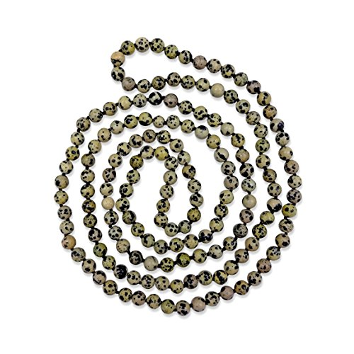 MGR MY GEMS ROCK! 60 Inch 8MM Polished Genuine Dalmatian Jasper Multi-Layer Long Endless Infinity Beaded Unisex Necklace.