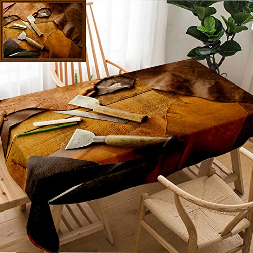 Unique Custom Design Cotton and Linen Blend Tablecloth Leathersmith S Work Desk Pieces of Tan and Brown Hide and Leather Working Tools On A Work Tablecovers for Rectangle Tables, Large Size 86