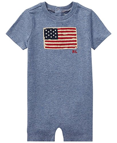 RALPH LAUREN Baby Boy Flag Cotton Jersey Shortall