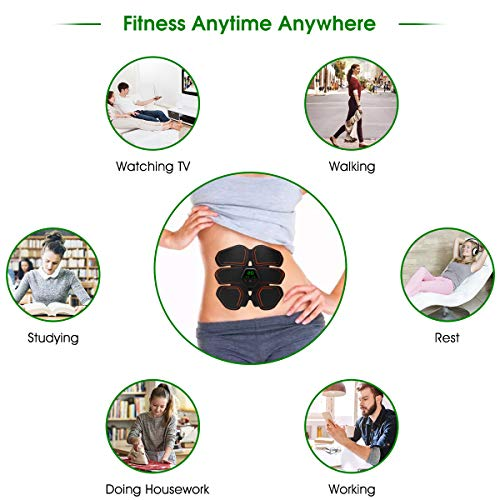 Muscle Toner EMS Ab Trainer Rechargeble Abdominal Toning Belt 10 modes 20 Intensities for Abdomen/Arm/Leg Training Men Women Abs Workout Machine 3