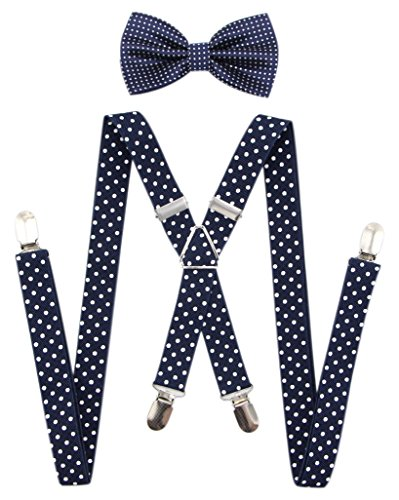 JAIFEI Men's X Back Suspenders & Bowtie Set - Perfect For Weddings & Formal Events ()