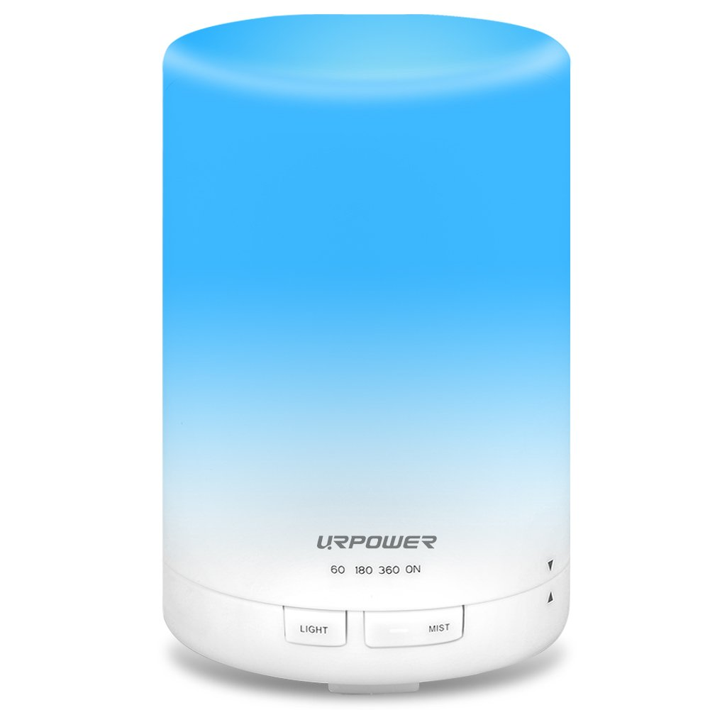 URPOWER 2nd Gen 300ml Aroma Essential Oil Diffuser Night Light Ultrasonic Air Humidifier with AUTO Shut off and 6-7 HOURS Continuous Diffusing - 7 Color Changing LED Lights and 4 Timer Settings