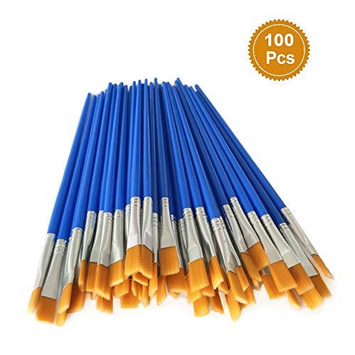 100 Pcs Flat Paint Brushes Set Kids Nylon Hair Acrylic Small Oil Watercolor Artist Painting Kits Bulk for Children