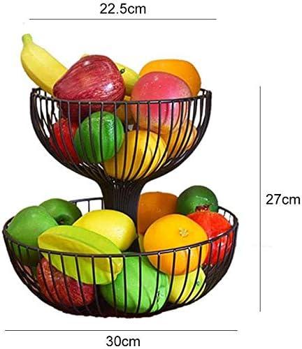cuenco de metal para m/ás espacio en la encimera 2 pisos de fruta cesta decorativa de fruta frutero Family in Frutero cesta de fruta
