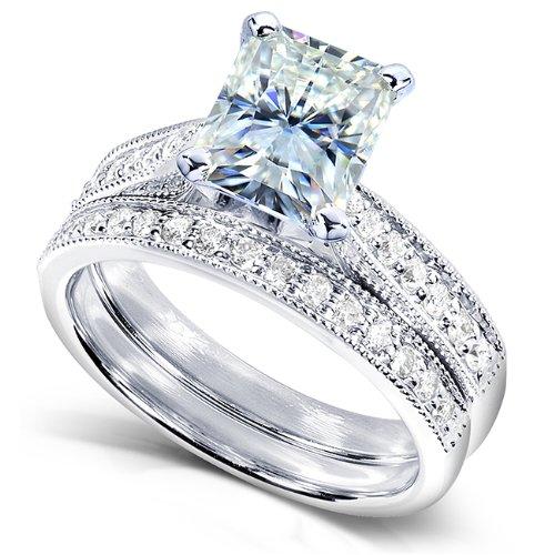 Radiant-cut Forever Brilliant Moissanite Bridal Ring Set 1 1/6 Carat (ctw) in 14k White Gold_8.0