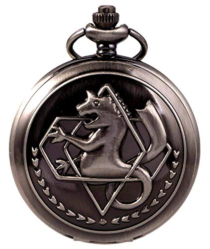 Full Metal Alchemist Pocket Watch + Chain, Edward Elric Anime Cosplay Gift