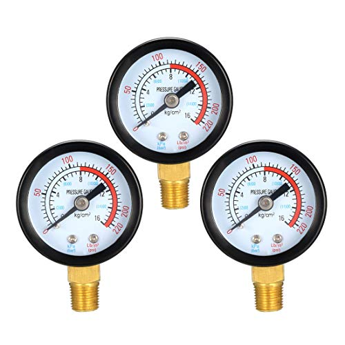 uxcell Pressure Gauge, 0-220 PSI/0-16 BAR Dual Scale, 1.4
