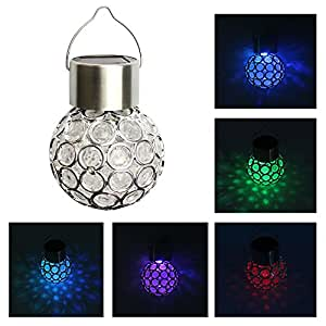 Viiways 3 Pack Colorful Magic Ball RGB LED Hanging Lamp Lights Lanterns for Outdoor Lawn Camping Bedroom Night Light Christmas Decoration Lighting Gift