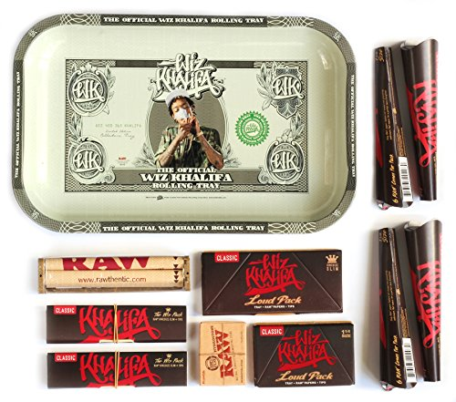 RAW WIZ KHALIFA Rolling TRAY Set + LOUD PACK + ROLLER + PAPER + Tips + 18 CONES (Tips Paper Khalifa Wiz)