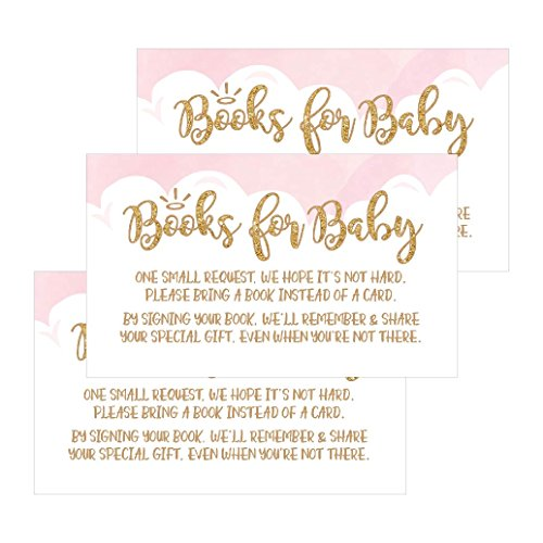 25 Books for Baby Request Insert Card for Pink Girl Heaven Sent Baby Shower Invitations Or Invites, Cute Bring A Book Instead of A Card Theme for Gender Reveal Party Story Games, Business Card Sized