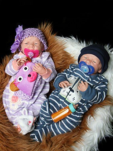 "Reborn Babies Twins Boy,Girl Preemie Anatomically Correct Washable Berenguer Realistic 14"" Real Soft Vinyl Silicone Lifelike Pacifier Doll"