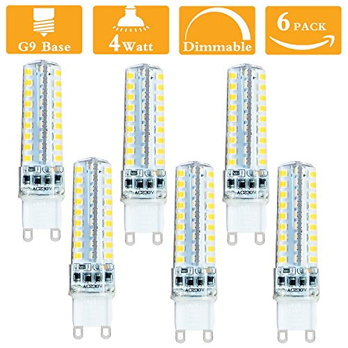 Rose Traditional Torchiere Lamp (G9 LED Bulb Dimmable Warm White 6000K Bin Pin G9 Bulbs 4W Replace 40W G9 Halogen Bulb 400LM AC120 (Pack Of 6))