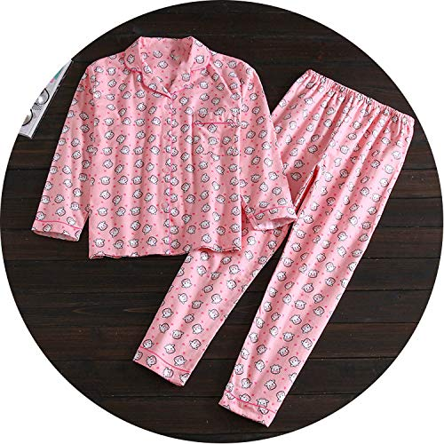 Pajamas Women's Cotton Long-Sleeved Sleepwear Pajamas Women Casual Cartoon Homewear Set,14,S