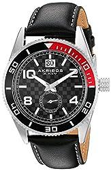 Akribos XXIV Men's AK859SSB Round Black Dial Three Hand Quartz  Strap Watch