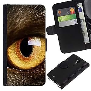 Be Good Phone Accessory // Caso del tirón Billetera de Cuero Titular de la tarjeta Carcasa Funda de Protección para Samsung Galaxy S4 Mini i9190 MINI VERSION! // Cat Eye Orange Yellow Fur Pet Looking