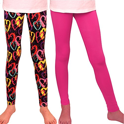 Syleia Girl Leggings with Heart Patterns (Medium, 2 Pairs - Hearts Pattern & Solid Pink)]()