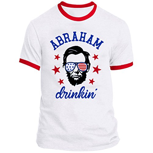 July Ringer T-shirt - 21 THREADS 4th of July Ringer Abraham Drinkin 2 Holiday T-Shirt