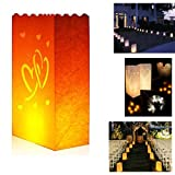 10 Packs&50 PacksLuminary Paper Lantern Candle Tea light Bag with Flame Resistant Paper for Holiday Party From Zaptex (Double heart 50 packs)