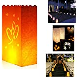 10 Packs&50 Packs Luminary Paper Lantern Candle Tea light Bag with Flame Resistant Paper for Holiday Wedding Party From Zaptex (50 packs, Double heart)